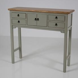 100Cm X 32Cm Oak Top, French Grey 4 Drawer 2 Small Door Hampshire Console Table