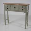 100 Cm X 32 Cm Oak Top, French Grey 4 Drawer 2 Small Door Hampshire Console Table