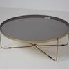 100 Cm Circ Copper Cross Base Frame Dark Grey Enamel Top Coffee Table