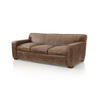 Brown Crocodile Pattern Leather 3 Seater Sofa (220cm X 100cm X 80cm H)