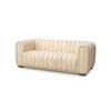 Cream Ribbed Leather Hoffman Sofa (180cm X 75cm X 70cm H)