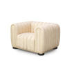 Cream Ribbed Leather Hoffman Armchair (105cm X 80cm X 75cm H)