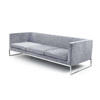 Grey Fabric 3 Seater 'tight' Sofa (213cm X 90cm X 66cm H)