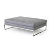 Grey Fabric Rectangular 'tight' Ottoman (128cm X 90cm X 40cm H)