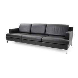 Black Leather Ds739 3 Seater Sofa on Corner Leg