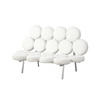 White Leather & Chrome Marshmallow Sofa ( H: 97cm W: 160cm D: 80cm )
