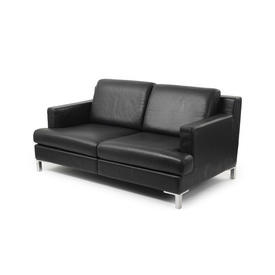 Black Leather Ds739 2 Seater Sofa on Corner Leg