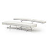 Curved White Leather & Chrome 'monte Carlo' Sofa (280cm X 97cm X 60cm H)