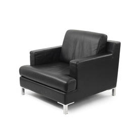 Black Leather DS739 Armchair on Corner Leg