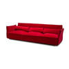 Large Red Velvet 'darwin' 3 Seater Sofa With 3 Rect. Cushions (265cm X 90cm X 78cm H)