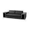 "Black Leather & Chrome ""Ds180"" 3 Seater Sofa"