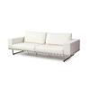 White Leather & Chrome 3 Seater Sofa ( H: 59cm W: 240cm D: 100cm )
