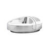 "Chrome Oval ""Ufo"" Seating System With White Leather Pads ( H: 73cm W: 200cm D: 140cm )"