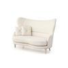 White Satin Sofa & 4 Buttoned Cushions (150cm X 90cm X 108cm H)