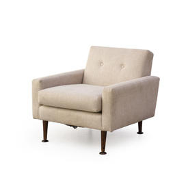 Beige Fabric 50S Style Buttoned Back Armchair