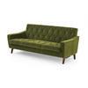 Green Velvet Retro Quilted 3 Seater Sofa (173cm X 72cm X 71cm H)