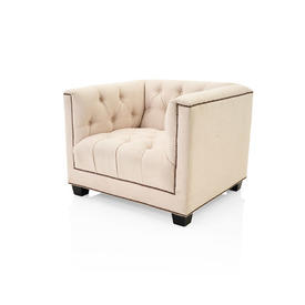 Natural Linen Chesterfield Style ''Paolo'' Armchair