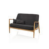 Retro Black Fabric ''emmy'' Sofa With Wooden Arms ( H: 82cm W: 130cm D: 70cm )