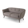 Khaki Half Buttoned Sofa With White Stitch Detail ( H: 77cm W: 170cm D: 70cm )