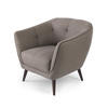 Khaki Half Buttoned Armchair With White Stitch Detail (82cm X 70cm X 77cm H)