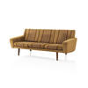 Mustard & Brown Striped Fabric Retro Sofa On Wooden Legs (189cm X 75cm X 70cm H)