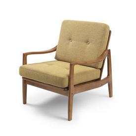 Wood Retro Armchair with Mustard Tweed Cushion