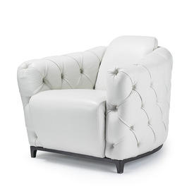 White Leather Buttoned Armchair