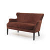 Rust Velvet & Brass Studded Sofa (130cm X 80cm X 86cm H)