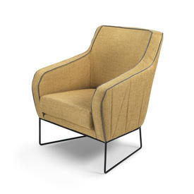 Mustard Armchair with Grey Piping