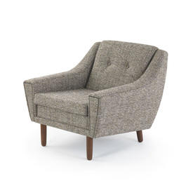 Grey Tweed Fabric Armchair