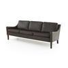 Brown Leather Retro 3 Seater Sofa (190cm X 80cm X 66cm H)