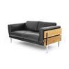 Brown Leather & Light Oak Panelled Forum Sofa (147cm X 80cm X 70cm H)