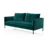 Green Velvet ''paul'' Sofa With Two Back Cushions & Pewter ( H: 92cm W: 225cm D: 100cm )