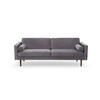 "Grey Velvet ""Wind"" Sofa With 2 Bolster Cushions (200cm X 88cm X 74cm H)"