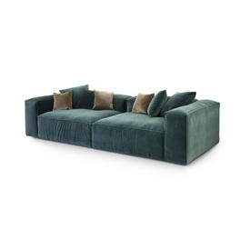 Large Forest Green Velvet ''Cosima'' 2 Piece Sofa with 4 Scatter Cushions