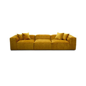 "Large Mustard ""Cosima"" Ribbed Fabric 3 Piece Sofa with 4 Scatter Cushions"