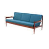 Blue Wool & Rosewood Danish 3 Seater Sofa ( H: 69cm W: 185cm D: 75cm )