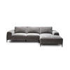 "Grey Fabric ""Montado"" Corner Sofa On Black Legs With 3 Back Cushions (270cm X 165cm X 66cm H)"