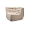 Dark Beige Fabric Curved Corner Chair Without Arms ( H: 76cm W: 91cm D: 91cm )