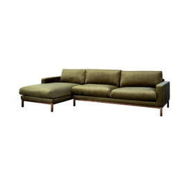 "Green Velvet 4 Seater ""North"" Sofa with Left Hand Chaise on Oiled Walnut Base"