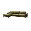 "Green Velvet 4 Seater ""North"" Sofa With Left Hand Chaise On Oiled Walnut Base (285cm X 160cm X 74cm H)"