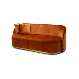 "Rust Velvet ""Cara"" 2 Seater Sofa with Brass Trim & 2 Scatter Cushions"