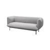 "Grey Fabric ""Cloud"" 2 Seater Sofa On Black Legs ( H: 75cm W: 192cm D: 82cm )"