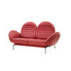Red Leather & Steel Porsche 2 Seater Sofa (190cm X 90cm X 100cm H)