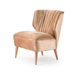 Pink Velvet Pleated Back ''Lipstick'' Armchair with Pink Leg