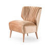 Pink Velvet Pleated Back Lipstick Armchair With Pink Leg (65cm X 70cm X 79cm H)