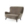 """Mink Velvet """"Hepburn"""" 2 Seater Sofa With White Piping ( H: 97cm W: 135cm D: 96cm )"""
