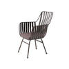 Aged Metal 'greg' Chair  With Brown Seat Cushion (63cm X 60cm X 92cm H) (, Vintage)