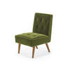 Green Velvet Retro Quilted Cafe Chair ( H: 71cm W: 45cm D: 54cm )