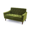 Green Velvet Retro Quilted 2 Seater Sofa (123cm X 72cm X 71cm H)